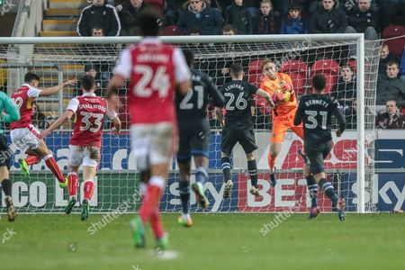 Jason Steele (Blackburn Rovers) saves the ball as Jerry Yates (Rotherham United) takes a shot late on in the game during the EFL Sky Bet Championship match between Rotherham United and Blackburn Rovers at the AESSEAL New York Stadium, Rotherham