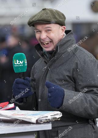 ITV racing presenter Luke Harvey at The Betfair Super Saturday meeting