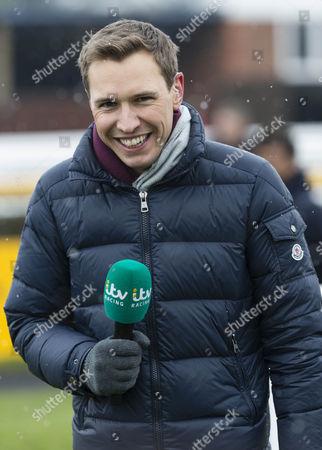 ITV racing presenter Ollie Bell at The Betfair Super Saturday meeting