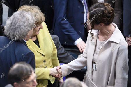 Helmut Markwort, Angela Merkel and Natalia Woerner