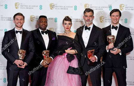 The team behind 'Home', filmmaker Daniel Mulloy (2-R), producers Afolabi Kuti (2-L), Shpat Deda (L), Scott O'Donnell (R) and actress Arta Dobroshi (C) pose in the press room with their award for the Best British Short Film during the 2017 EE British Academy Film Awards at The Royal Albert Hall in London, Britain, 12 February 2017. The ceremony is hosted by the British Academy of Film and Television Arts (BAFTA).