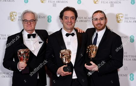 Claude La Haye (L), Sylvain Bellemare (C) and Bernard Gariepy (R) pose in the press room after winning the award for Best Sound for 'Arrival' during the 2017 EE British Academy Film Awards at The Royal Albert Hall in London, Britain, 12 February 2017. The ceremony is hosted by the British Academy of Film and Television Arts (BAFTA).