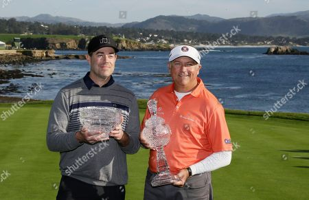Carson Daly, Ken Duke Carson Daly, left, and Ken Duke, right, pose with their trophies on the 18th green of the Pebble Beach Golf Links during the final round of the AT&T Pebble Beach National Pro-Am golf tournament, in Pebble Beach, Calif. The pair won the pro-am title and Daly won the Jack Lemmon award as the most valuable amateur