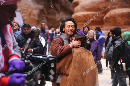 """Tiger Shroff, Sana Saeed Bollywood film star Tiger Shroff hugs his co-star Sana Saeed during the filming their new movie, """"Munna Michael,"""" in Jordan's iconic Petra archaeological site. Shroff, Saeed and an Indian cinema crew are filming across Jordan for the film directed by Sabbir Khan"""