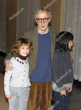 Woody Allen and his daughters Bechet and Manzie Tio