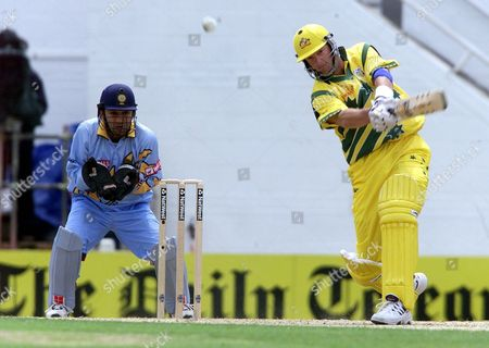 London United Kingdom: Australias Mark Waugh Hits a Four Off the Bowling of Indias Anil Kumble During Their Cricket World Cup Match at the Oval South London 04 June 1999 the Final Will Be Held at Lords 20 June 1999 Epa-photo/epa/gerry Penny/stf/gp/amd/ow United Kingdom London