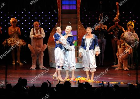 Todd Mckenney Waves Goodbye to the Fans of the Show as Tony Sheldon and Daniel Scott Hug.
