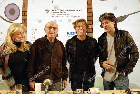 Film festival vice president Despoina Mouzaki,  director Theodoros Angelopoulos,  Willem Dafoe and festival president Giorgos Horafas.