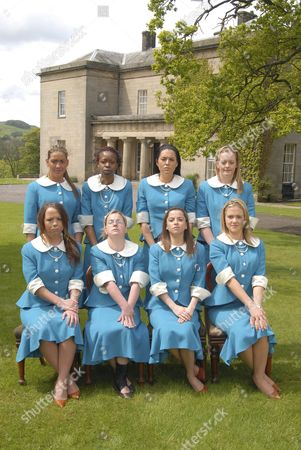 'Ladette To Lady' TV programme: Ladettes Charlotte Donohue, Neema Mattaker, Kelly Simpson and Amber Jacques; Front L-R:  Laura Waude, Simone Webber, Holly Clements and Nicole Hart