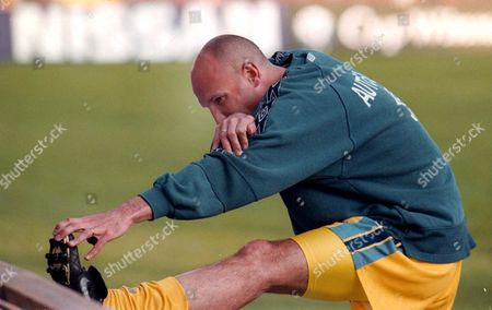 Stockholm Sweden - British Team Chelseas French Player Franck Leboeuf During Some Stretching in the Rasunda Stadium 12 May 1998 During the Teams Training Session One Day Before Their European Cup Winners Cup Final Match Against German Team Vfb Stuttgart Epa-photo/epa/attila Kisbenedek/ak/kr/ow Sweden Stockholm