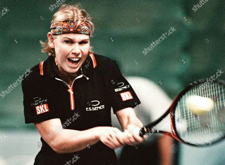 Moscow Russian Federation - German Anke Huber Grimaces As She Returns the Ball to Russian Elena Makarova During the Federation Cup Tennis Tournament in Moscow 25 July 1998 Makarova Beat Huber 6-1 7-6 Epa-photo/epa/yuri Kochetkov/stf/vk/hh/ow Russian Federation Moscow