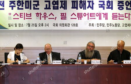 Former U S Capt Phil Stewart (second From L) and Steve House (second From R) Testify About the U S Forces Korea (usfk)'s Alleged Burial of a Toxic Defoliant at a U S Camp During a National Assembly Hearing in Seoul on 25 July 2011 House and Two Other Former U S Soldiers who Were Stationed in South Korea in the Late 1970 Claimed in May That They Secretly Buried at Least 240 Drums of Agent Orange at Camp Carroll 300 Kilometers Southeast of Seoul in 1978 Korea, Republic of Seoul