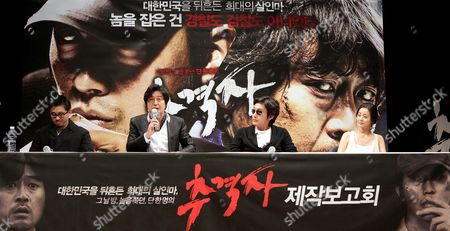 Director Na Hong-jin (l) and the Main Cast Members Kim Yoon-seok (2-l) Ha Jung-woo (2-r) and Suh Young-hee (r) Present the Thriller 'Tracer' During a News Conference in Seoul South Korea 14 January 2008 Korea, Republic of Seoul