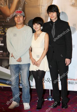 South Korean Stars of the New Movie 'Heartbreak Library' -- Yoo Jin (c) and Lee Dong-wook (r) -- Along with Director Kim Jung-kwon Pose For a Photo During a Publicity Event at Cgv Theater in Seoul South Korea 10 October 2008 the Movie Will Be Released in South Korea on Oct 23 Korea, Republic of Seoul