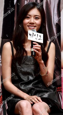 South Korean Actress Choo Ja-hyun who Stars in Director Chun Yoon-soo's Film 'Miindo ' Responds to Reporters' Questions During a Publicity Event at Ewha 100th Memorial Hall in Seoul South Korea 13 October 2008 the Movie is Released in South Korea on 13 October Korea, Republic of Seoul