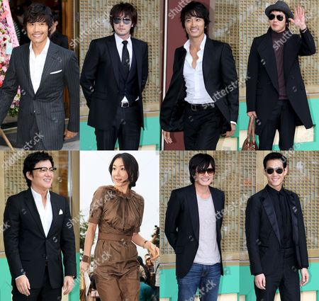 A Picture Combo Shows South Korean Stars -- Lee Byung-hun So Ji-sup Song Seung-heon Park Yong-ha Lee Jung-jae Jang Dong-gun Choi Ji-woo and Lee Beom-soo (clockwise From Upper Left) -- Attend Actor Kwon Sang-woo and Actress Sohn Tae-young's Wedding Ceremony at the Shilla Hotel in Seoul South Korea 28 September 2008 Korea, Republic of Seoul