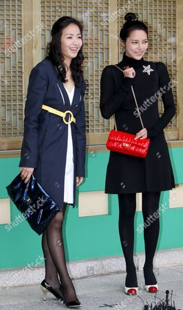 South Korean Actress Yoon Hae-young (l) and Park Si-yeon Attend Actor Kwon Sang-woo and Actress Sohn Tae-young's Wedding Ceremony at the Shilla Hotel in Seoul South Korea 28 September 2008 Korea, Republic of Seoul