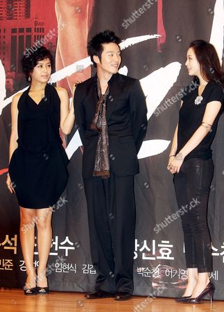 The Stars of New Drama 'Tazza ' Or 'The War of Flowers ' -- (l-r) Kang Sung-yeon Jang Hyuk and Han Ye-seul -- Pose For a Photo During a Publicity Event at Broadcaster Sbs's Main Complex in Seoul South Korea 08 September 2008 the Drama Will Be Aired by Sbs Starting 16 September Korea, Republic of Seoul