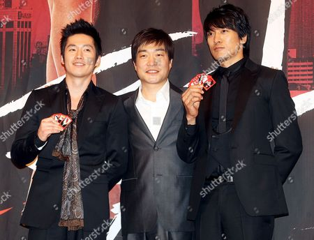 The Stars of New Drama 'Tazza (the War of Flowers)' -- Jang Hyuk Sohn Hyun-ju and Kim Min-jun (l to R) -- Pose For a Photo During a Publicity Event at Broadcaster Sbs's Main Complex in Seoul South Korea 08 September 2008 the Drama Will Be Aired by Sbs Starting 16 September Korea, Republic of Seoul