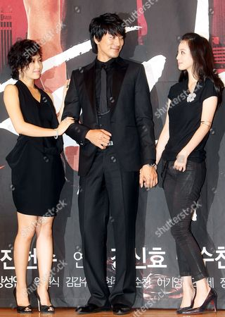 The Stars of New Drama 'Tazza' Or 'The War of Flowers' -- Kang Sung-yeon Kim Min-jun and Han Ye-seul (l to R) -- Pose For a Photo During a Publicity Event at Broadcaster Sbs's Main Complex in Seoul South Korea 08 September 2008 the Drama Will Be Aired by Sbs Starting 16 September Korea, Republic of Seoul