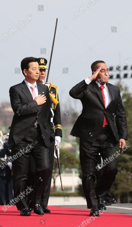 South Korean Defense Minister Han Min-goo (l) and Indonesian Defense Minister Ryamizard Ryacudu Inspect an Honor Guard at the Defense Ministry in Seoul South Korea on 23 March 2016 the Two Met to Discuss Ways to Enhance Cooperation in Seoul's Project to Develop an Indigenous Fighter Jet and Other Bilateral Defense Issues Korea, Republic of Seoul