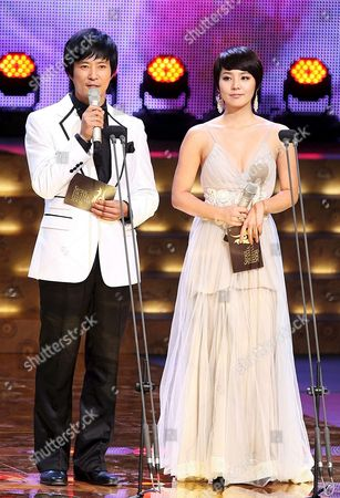 A Picture Made Available 16 October 2008 Shows South Korean Actor Choi Soo-jong and Actress Yoo Jin Host the 2008 Seoul Drama Festival at Kbs Hall in Seoul South Korea 14 October 2008 Korea, Republic of Seoul