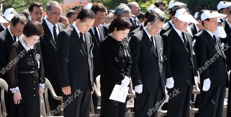 South Korean Leaders Including President Lee Myung-bak (2nd L Front) Offer a Silent Prayer For the Late Former President Kim Dae-jung at a State Funeral For Him on 23 August 2009 at Parliament Square in Seoul South Korea Kim Died on Aug 18 After Fighting a Long Battle with Pneumonia Korea, Republic of Seoul