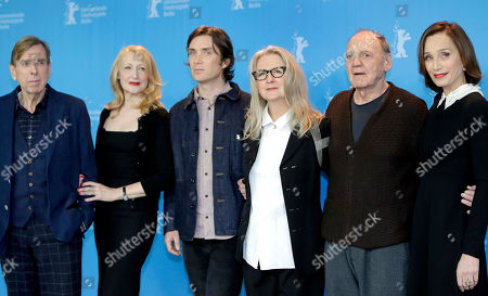 From left, actor Timothy Spall, actress Patricia Clarkson, actor Cillian Murphy, director Sally Potter, actor Bruno Ganz and actress Kristin Scott Thomas pose for the photographers during a photo call for the film 'The Party' at the 2017 Berlinale Film Festival in Berlin, Germany