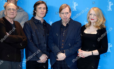 From left, actor Bruno Ganz, actor Cillian Murphy, actor Timothy Spall and actress Patricia Clarkson pose for the photographers during a photo call for the film 'The Party' at the 2017 Berlinale Film Festival in Berlin, Germany