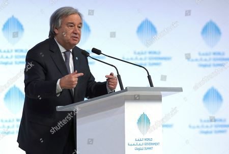 """Stock Picture of The United Nations Secretary-General Antonio Guterres speaks during the 2nd day of the World Government Summit in Dubai, United Arab Emirates, . Guterres said Monday that he """"deeply regrets"""" the United States' decision to block a former Palestinian prime minister from leading the world body's political mission in Libya. Antonio Guterres says that Salam Fayyad was """"the right person for the right job at the right moment"""