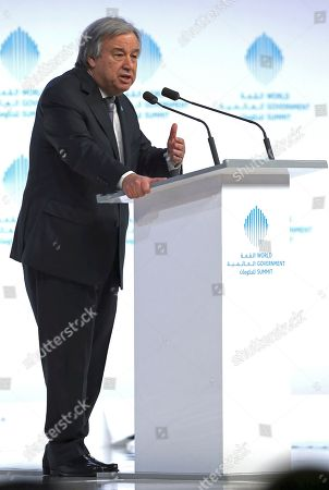 """The United Nations Secretary-General Antonio Guterres speaks during the 2nd day of the World Government Summit in Dubai, United Arab Emirates, . Guterres said Monday that he """"deeply regrets"""" the United States' decision to block a former Palestinian prime minister from leading the world body's political mission in Libya. Antonio Guterres says that Salam Fayyad was """"the right person for the right job at the right moment"""