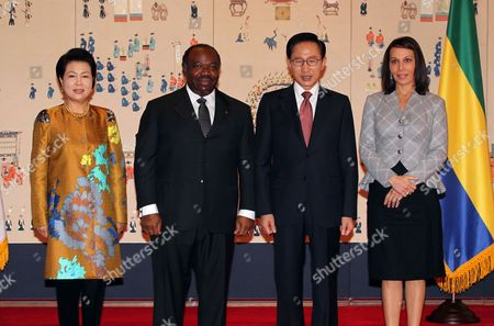 South Korean President Lee Myung-bak (2-r) and His Gabonese Counterpart Ali Bongo Ondimba (2-l) Pose Prior to Their Talks at the Presidential Office Cheong Wa Dae in Seoul South Korea 25 October 2010 with First Ladies Kim Yoon-ok (l) and Sylvia Bongo Ondimba (r) Korea, Republic of Seoul