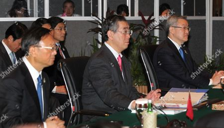 Yang Jeichi of China Takeaki Matsumoto of Japan and Kim Sung-hwan of South Korea (l to R) Listen to an Opening Speech by Indonesian Foreign Minister Marty Natalegawa at the Meeting of Foreign Ministers From the 10-member Association of Southeast Asian Nations (asean) Plus Three - South Korea China and Japan - in Nusadua Bali Indonesia on 21 July 2011 the Indonesian Island of Bali Hosts the 44th Asean Ministerial Meeting (amm) Post Ministerial Conference (pmc) and 18th Asean Regional Forum (arf) From 19 to 23 July Asean is Expected to Finalise a Regional Code of Conduct For the South China Sea Before Its Next Summit in November Indonesia Nusadua