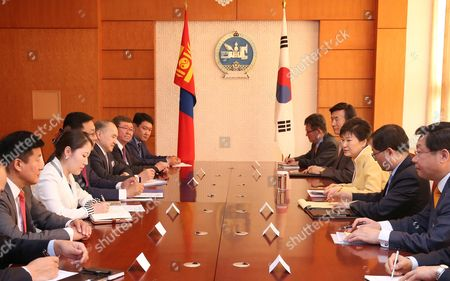 South Korean President Park Geun-hye (3-r) Talks with Mongolian Prime Minister Jargaltulga Erdenebat (3-l) During Their Meeting in the Mongolian Government Complex in Ulan Bator Mongolia 18 July 2016 Park Held Summit Talks with Her Mongolian Counterpart President Tsakhiagiin Elbegdorj the Previous Day and Agreed to Expand Bilateral Economic Cooperation Including a Push For a Bilateral Free Trade Pact Mongolia Ulan Bator