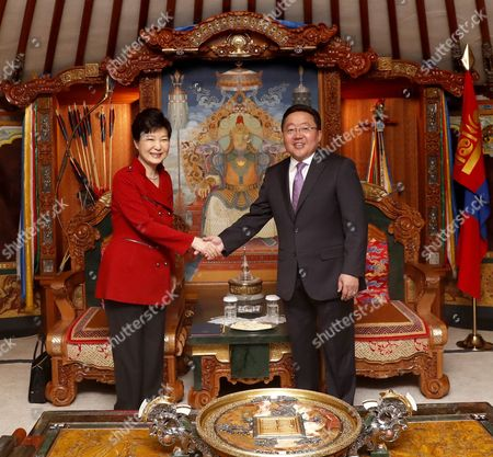 South Korean President Park Geun-hye (l) Shakes Hands with Her Mongolian Counterpart Tsakhiagiin Elbegdorj in the Mongolian Government Complex in Ulan Bator Mongolia 17 July 2016 Before a Summit the Leaders Agreed to Expand Bilateral Economic Cooperation Including a Push For a Bilateral Free Trade Pact Mongolia Ulan Bator