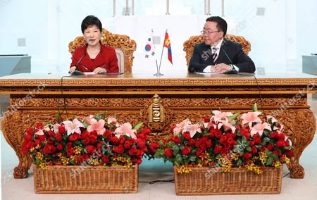 South Korean President Park Geun-hye (l) and Her Mongolian Counterpart Tsakhiagiin Elbegdorj Hold a Joint News Conference After a Summit Meeting in the Mongolian Government Complex in Ulan Bator Mongolia 17 July 2016 the Leaders Agreed to Expand Bilateral Economic Cooperation Including a Push For a Bilateral Free Trade Pact Mongolia Ulan Bator