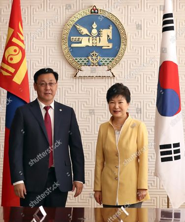 South Korean President Park Geun-hye (r) and Mongolian Prime Minister Jargaltulga Erdenebat Pose For a Photo During Their Meeting in the Mongolian Government Complex in Ulan Bator Mongolia 18 July 2016 Park Held Summit Talks with Her Mongolian Counterpart President Tsakhiagiin Elbegdorj the Previous Day and Agreed to Expand Bilateral Economic Cooperation Including a Push For a Bilateral Free Trade Pact Mongolia Ulan Bator