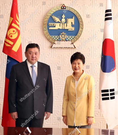 South Korean President Park Geun-hye (r) Poses For a Photo with Miyeegombo Enkhbold (l) the Chairman of Mongolia's State Great Assembly During Their Meeting in the Mongolian Government Complex in Ulan Bator Mongolia 18 July 2016 Park Held Summit Talks with Her Mongolian Counterpart Tsakhiagiin Elbegdorj the Previous Day and Agreed to Expand Bilateral Economic Cooperation Including a Push For a Bilateral Free Trade Pact Mongolia Ulan Bator