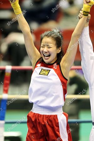 Lee Si-young who Works As a Professional Actress Cheers After Winning the 48-kilogram Division of the 7th National Amateur Rookie Boxing Championship in Andong North Gyeongsang Province South Korea on 17 March 2011 Korea, Republic of Andong