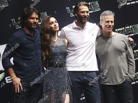 Stock Picture of (l-r) South African Director Jonathan Liebesman Us Actress and Cast Member Megan Fox Us Producers Andrew Form and Producer Brad Fuller Pose For Photographers During a Press Conference of Their Film 'Teenage Mutant Ninja Turtless' in Seoul South Korea 27 August 2014 the Film Will Open on 28 August in South Korea Korea, Republic of Seoul