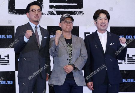 A Picture Made Available on 04 August 2016 Shows (l-r) South Korean Actor Ha Jung-woo Director Kim Sung-hoon and Actor Oh Dal-soo Cast of the New Movie 'The Tunnel' Posing For a Photo During a Press Preview of the Film in Seoul South Korea 03 August 2016 the Movie Will Be Released on 10 August in South Korea and on 26 August in the Usa Korea, Republic of Seoul