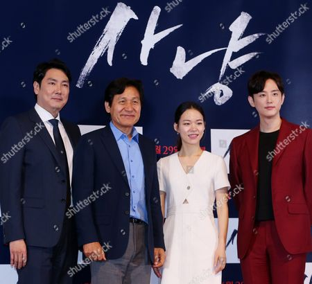 Leading Stars of New South Korean Movie 'The Hunt' (l-r) Jo Jin-woong Ahn Sung-ki Han Ye-ri and Kwon Yul Pose For a Photo at a Publicity Event For the Film in Seoul South Korea 23 June 2016 the Thriller is About a Group of Men Chasing Down the Witnesses to Their Murder of Another Man when Looking For Gold at a Closed Coal Mine Korea, Republic of Seoul