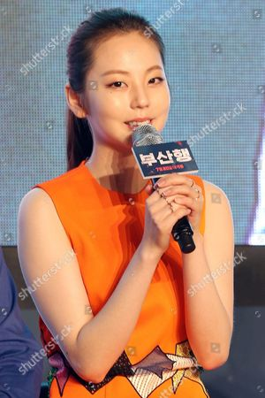 Stock Image of South Korean Actress Ahn So-hee a Former Member of Girl Group Wonder Girls Speaks at a Press Conference For the New Movie 'Train to Busan' in Seoul South Korea 21 June 2016 Ahn Stars in the Action-thriller About a Survival Race Aboard a Train to Busan the Only City Safe From Deadly Virus Sweeping the Country Korea, Republic of Seoul