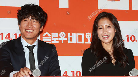 South Korean Actors Cha Tae-hyun (l) and Nam Sang-mi Attend an Event in Seoul South Korea 18 September 2014 to Promote the New Movie 'Slow Video ' the Story of a Man Working at a Cctv Control Center with the Ability to See Things People Cannot Korea, Republic of Seoul