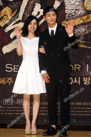 South Korean Actress Park Eun-bin (l)and Actor Lee Je-hoon Attends an Event in Seoul South Korea 18 September 2014 to Promote the New Sbs Drama 'Secret Door ' the Story of King Yeongjo and Crown Prince Sado Conflicting Each Other with the King Seeking Strong Royal Authorioty and the Prince Insisting on Equality For the People Korea, Republic of Seoul