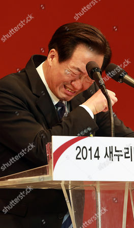 Chung Mong-joon a Seven-term Lawmaker who Served As Fifa Vice Chairman Bursts Into Tears As He Accepts the Ruling Saenuri Party's Candidacy For the Seoul Mayorship at Olympic Gymnasium in Seoul South Korea 12 May 2014 the 62-year-old Defeated Former Prime Minister Kim Hwang-sik and Former Two-term Legislator Lee Hye-hoon to Face Sitting Mayor Park Won-soon of the Major Opposition New Politics Alliance For Democracy on 04 June the Billionaire Legislator is a Son of the Late Hyundai Group Founder Chung Ju-yung and the Largest Shareholder of Hyundai Heavy Industries Co the World's Largest Shipbuilder Korea, Republic of Seoul