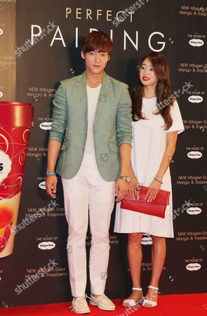 Stock Picture of South Korean Actors Choi Yeo-jin (r) and Choi Jin-hyuk Arrive to an Event to Promote an Ice Cream Brand in Seoul South Korea 22 May 2014 Korea, Republic of Seoul