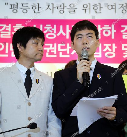 South Korean Gay Couple Kim Jho Gwang-soo (l) and Kim Sung-hwan Hold a News Conference in Seoul South Korea 26 May 2016 to Announce Their Plan to Appeal a Local Court's Rejection of Their Marriage the Seoul Western District Court Ruled Against the Filmmaker Couple the Previous Day Saying Same Sex-marriage Cannot Be Recognized As Legitimate Under the Country's Current Legal System Korea, Republic of Seoul