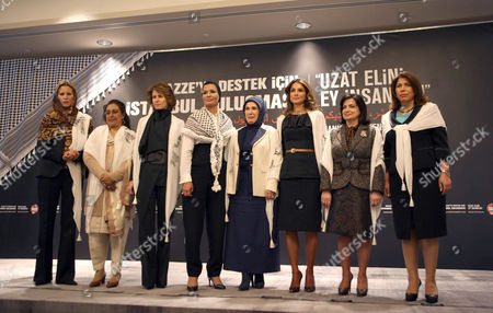 (L-R) Libya leader's daughter Dr. Aisha Muammar Al Kaddafi, Pakistanian First Lady Begum Fauzia Yusuf Raza Gilani, Syrian First Lady Esma Assad, Qatari second wife of Sheikh Hamad bin Khalifa Al Thani Nasser Al-Missned, Turkey's Prime Minister wife Emine Erdogan, Queen Rania Al Abdullah, Lebanon's First Lady Wafa Sleiman and Azerbaijan Parliament Vice President Bahar Muradova