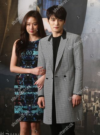 Actor Kim Jae-joong (r) and Actress Ko Sung-hee (l) Attend the Presentation of the New Kbs Drama 'Spy' in Seoul South Korea 06 January 2015 the Thriller Involves a Son Working For the National Intelligence Service and His Ex-spy Mother Korea, Republic of Seoul
